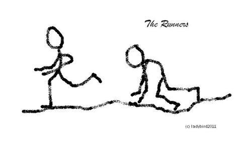 stick figures running